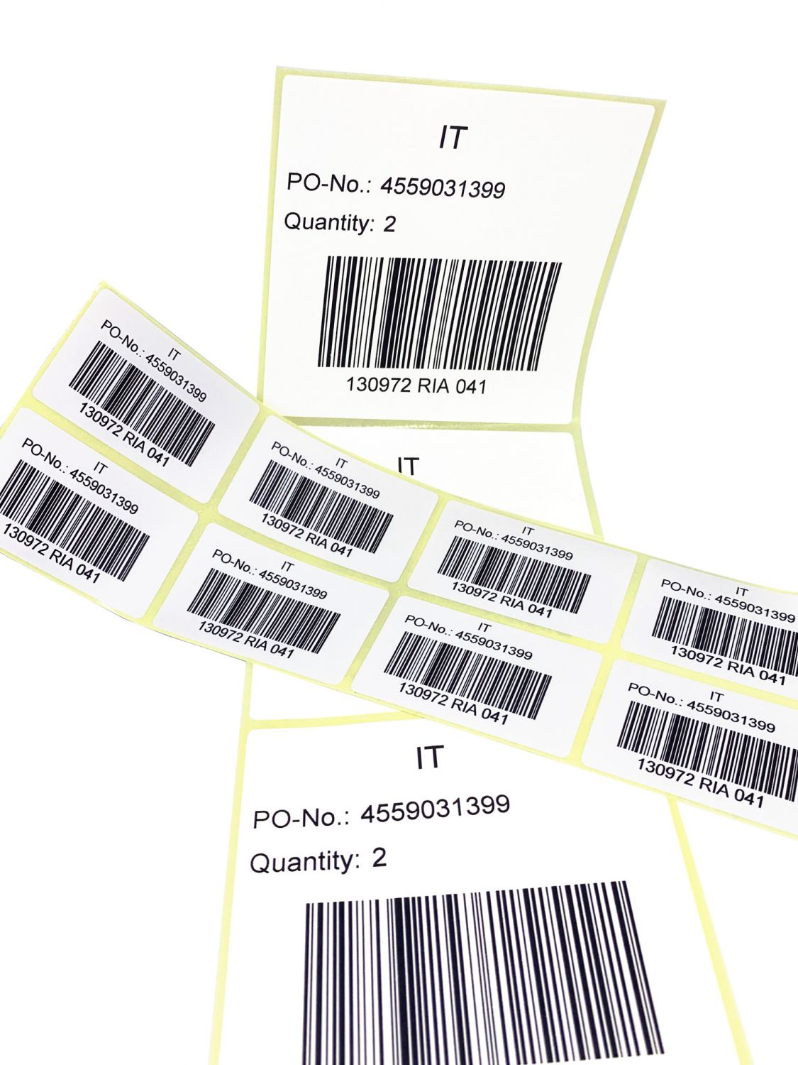 Self-adhesive labels printed by QVC customer