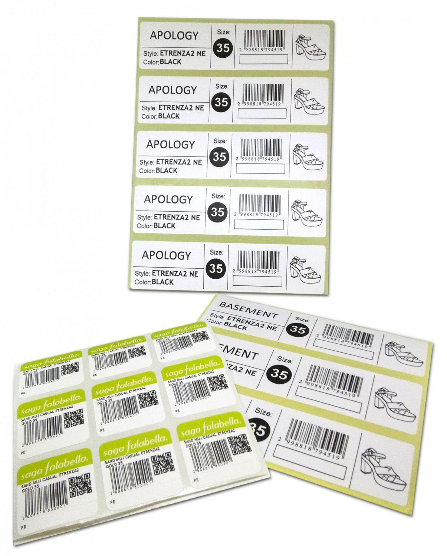 Kit of printed labels for the Falabella Peru customer